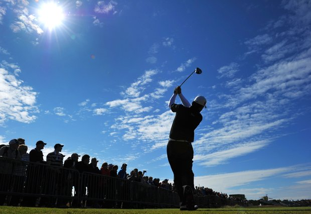 Graeme McDowell watches a shot during the third practice round prior to the start of the 141st Open Championship at Royal Lytham & St. Annes.