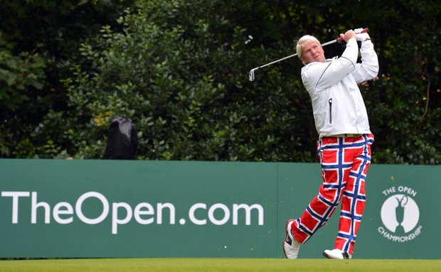 John Daly watches his shot from the 1st tee during his first round of the 2012 Open Championship at Royal Lytham & St Annes.