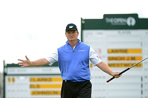 Ernie Els is one of three players to win a major with the anchored putter, coming last July at the Open Championship.