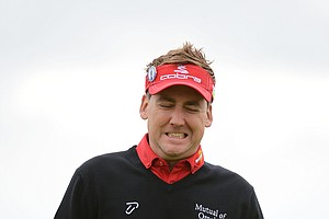 Ian Poulter reacts after a missed putt on the fourth during the first round of the 141st Open Championship at Royal Lytham & St. Annes Golf Club.