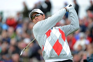 Adam Scott hits a tee shot on the fifth during the first round of the 141st Open Championship at Royal Lytham & St. Annes Golf Club.