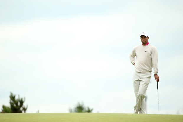 Tiger Woods tees off at 9:43 a.m. EDT in the second round of the 141st Open Championship.