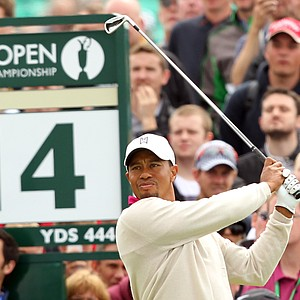 Tiger Woods watches his shot from the 14th tee during his first round of the 2012 Open Championship at Royal Lytham and St. Annes.