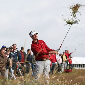 Harris English plays a shot from the rough on the sixth hole during the second round of the 141st Open Championship at Royal Lytham & St. Annes Golf Club.
