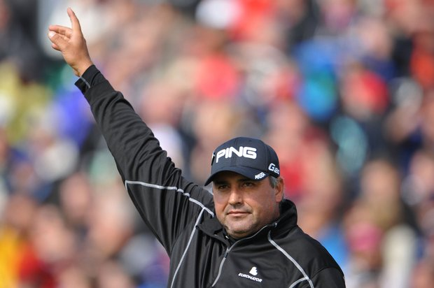 Angel Cabrera watches his tee shot on the fifth hole during the second round of the 141st Open Championship at Royal Lytham & St. Annes Golf Club.
