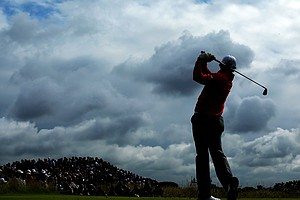 Rory McIlroy hits a shot on the fifth hole during the second round of the 141st Open Championship at Royal Lytham & St. Annes Golf Club.