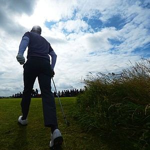 Nicolas Colsaerts walks off the 5th tee during the second round of the 141st Open Championship at Royal Lytham & St. Annes Golf Club.