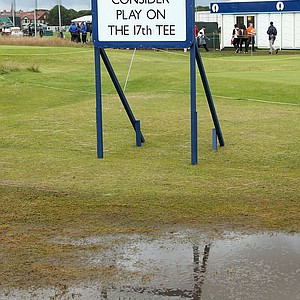 Waterlogged conditions near the 17th tee during the second round of the 141st Open Championship at Royal Lytham & St. Annes Golf Club.