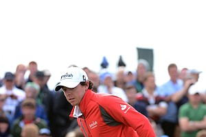 Rory McIlroy waits to play a shot on the third hole during the second round of the 141st Open Championship at Royal Lytham & St. Annes Golf Club.