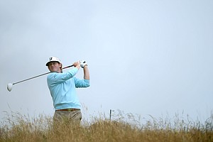 Brandt Snedeker watches his tee shot on the 11th hole during the second round of the 141st Open Championship at Royal Lytham & St. Annes Golf Club.