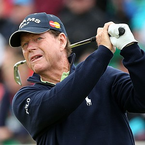 Tom Watson hits his tee shot on the fifth hole during the second round of the 141st Open Championship at Royal Lytham & St. Annes Golf Club.