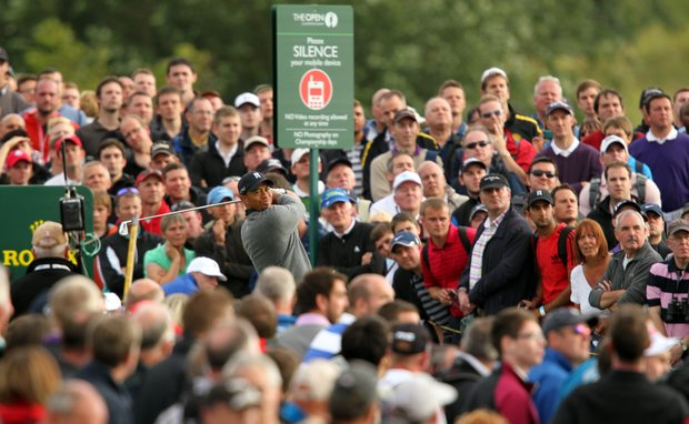 Tiger Woods watches his shot from the 14th tee during the second round of the 2012 Open Championship at Royal Lytham and St. Annes.