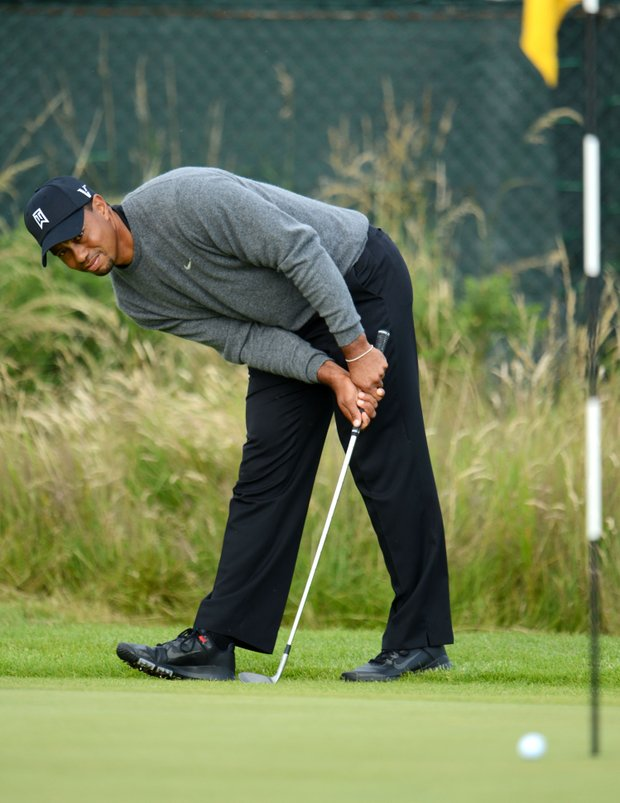 Tiger Woods watches a shot on the 14th hole during the second round of the 141st Open Championship at Royal Lytham & St. Annes Golf Club.