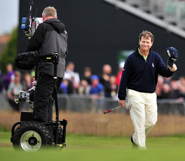 Tom Watson walks up the 18th fairway during the second round of the 2012 Open Championship at Royal Lytham and St. Annes.