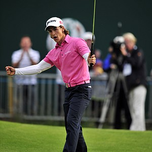 Thorbjorn Olesen reacts after making a birdie putt on the 18th green during the second round of the 2012  Open Championship at Royal Lytham and St. Annes.