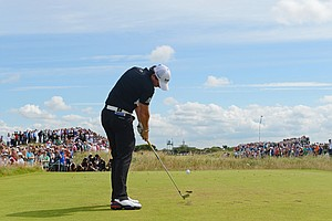 Rory McIlroy hits his tee shot on the fifth hole during the third round of the 141st Open Championship at Royal Lytham & St. Annes Golf Club.