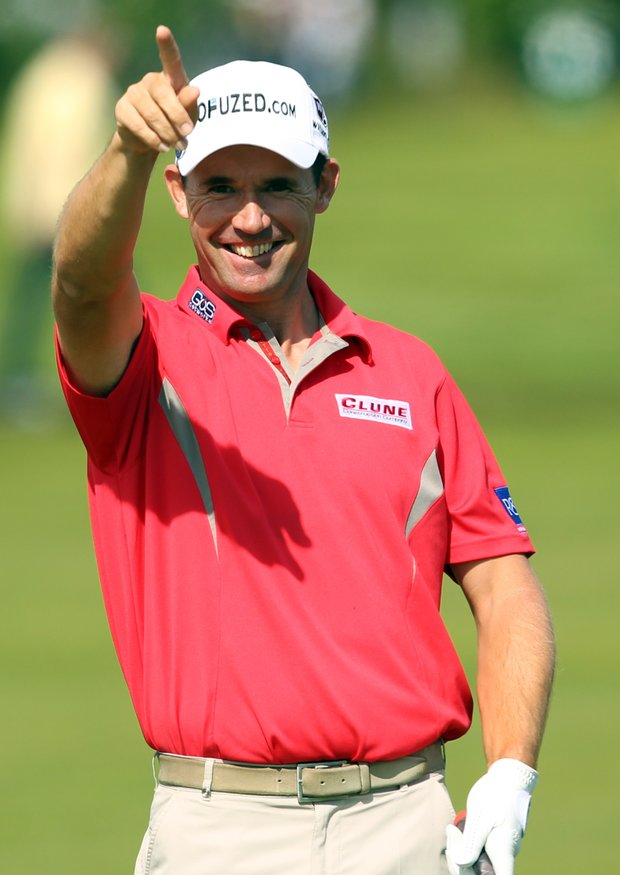 Padraig Harrington gestures on the second fairway during the third round of the 2012 Open Championship at Royal Lytham and St. Annes.