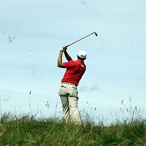 Padraig Harrington watches his shot from the rough on the 4th hole during the third round of the 2012 Open Championship at Royal Lytham and St. Annes.