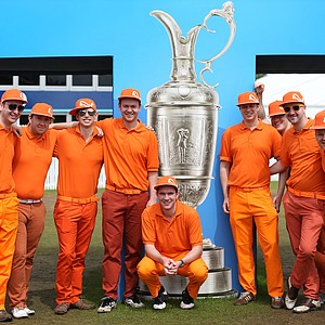 Rickie Fowler fans pose during the third round of the 141st Open Championship at Royal Lytham & St. Annes Golf Club.