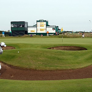 Adam Scott plays a shot from a bunker on the 17th hole during the third round of the 2012 Open Championship at Royal Lytham and St. Annes.