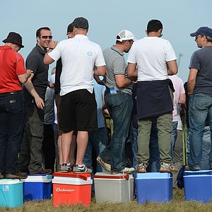 Fans watch the play during the third round of the 141st Open Championship at Royal Lytham & St. Annes Golf Club.