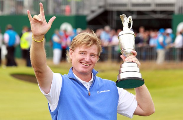 Ernie Els holds the Claret Jug, 'The Golf Champion Trophy' after winning the 2012 Open Championship at Royal Lytham and St. Annes.