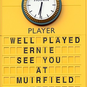 The scoreboard shows Ernie Els winning the 2012 Open Championship at Royal Lytham and St. Annes.