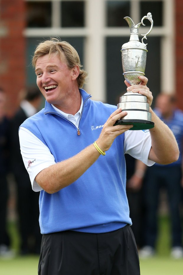 Ernie Els poses with the Claret Jug after winning the 141st Open Championship at Royal Lytham & St. Annes Golf Club.