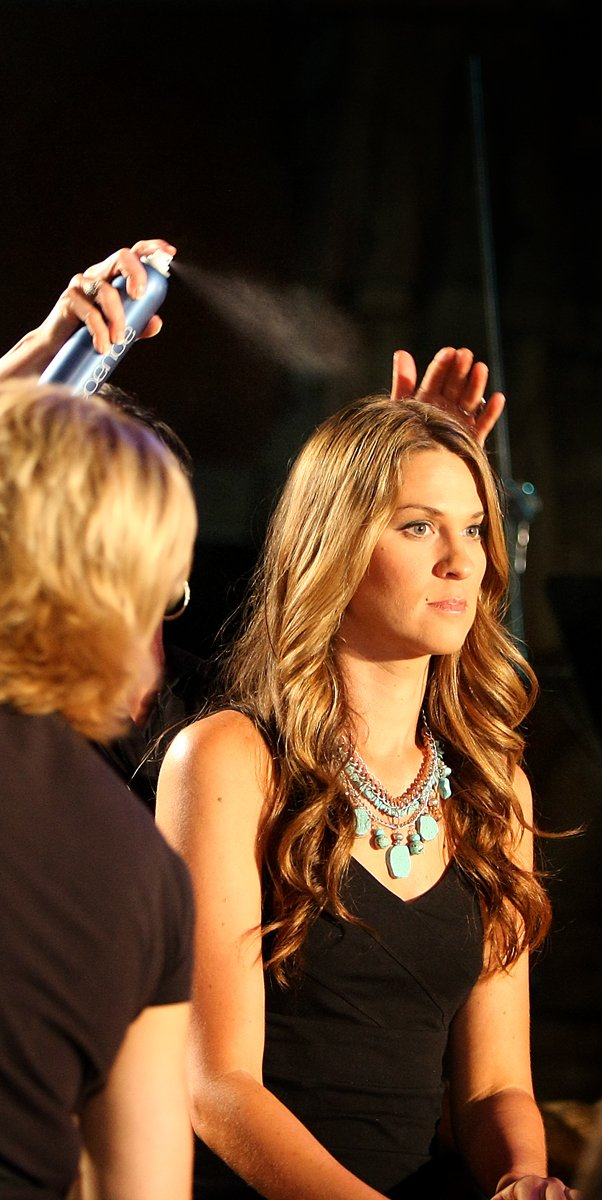 Aubrey McCormick is sprayed with hair spray in preparation for the taping of the Big Break Reunion show.