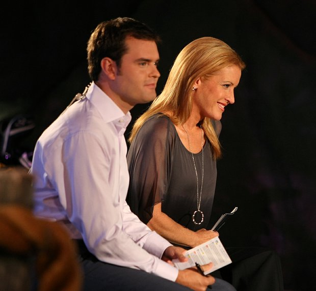 Golf Channel's Stephanie Sparks, right and Tom Abbott, left, hosts of the this season's Big Break Atlantis prepare on Tuesday for the filming of the Big Break Reunion show at the Latin Quarter of Universal's City Walk.