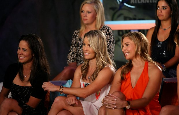 Golf Channel's Big Break Atlantis competitors, Marcela Leon, left, and Selanee Henderson, center, were the two left to compete in the finale of this season's reality show, with Leon winning it all. The competitors gathered on Tuesday during the filming of the Big Break Reunion show at the Latin Quarter of Universal's City Walk in Orlando, Fla. Far right is Allison Micheletti.