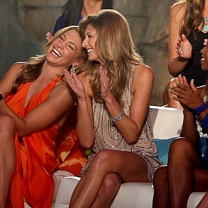 Allison Micheletti, left, and Christina Stockton, right, share a laugh during the filming of the Big Break Reunion show.
