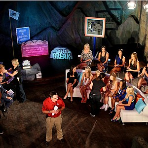 Golf Channel crew and talent prepare for the taping on Tuesday of the Big Break Reunion show.