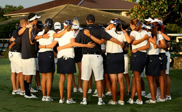 The West team gather together for a pep talk prior to the matches on Tuesday at the 2012 Wyndham Cup.