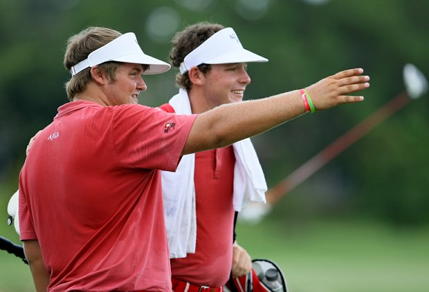 Cody Proveaux with his caddie and teammate Matthew NeSmith on Wednesday during the afternoon mixed four-ball matches at the 2012 Wyndham Cup.