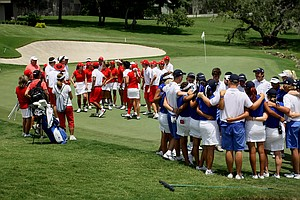 The East and the West teams come together at No. 18 after Thursday's single matches at the 2012 Wyndham Cup.
