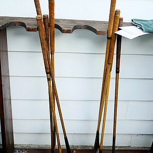 Hickory clubs used at the Oakhurst Links.