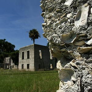 A detail image of the material of The Tabby Ruins at Old Tabby Links on Spring Island in South Carolina.