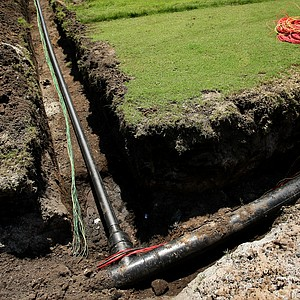 Copper wiring and piping for irrigationa during renovations at Old Tabby Links on Spring Island in South Carolina.