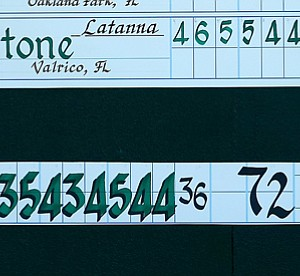 10-year-old Latanna Stone's scorecard after Round 1 of stroke play during the 2012 U. S. Women's Amateur Championship at The Country Club.
