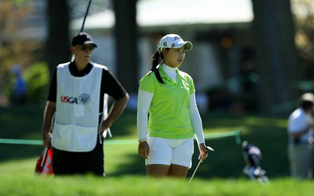 Moriya Jutanugarn of Thailand during Round 1 of the 2012 U. S. Women's Amateur Championship at The Country Club in Cleveland, Ohio.