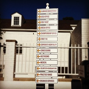 Directional signs for spectators at the 2012 U. S. Women's Amateur Championship at The Country Club.