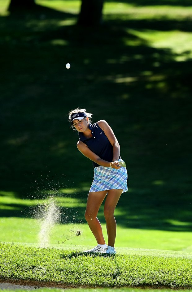 Annie Dulman of Palm Beach Gardens, Fla., hits a shot at No. 16 during the second round of stroke play at the 2012 U. S. Women's Amateur Championship.