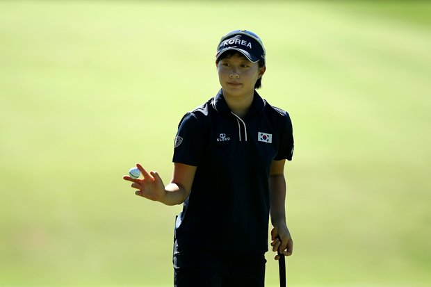 Hyo-Joo Kim of Korea during the second round of stroke play at the 2012 U. S. Women's Amateur Championship at The Country Club in Cleveland. Kim finished in fourth place at the Evian Masters an LPGA event.