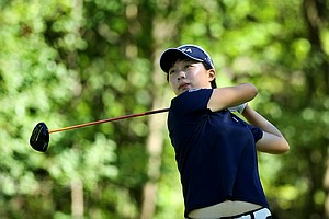 Hyo-Joo Kim watches her tee shot at No. 17 during the second round of stroke play at the 2012 U. S. Women's Amateur Championship at The Country Club in Cleveland. Kim posted a second consecutive 68.