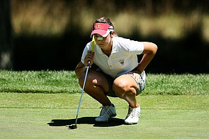 Lisa McCloskey of Houston, Texas lines up a putt during the second round of stroke play at the 2012 U. S. Women's Amateur Championship. McCloskey celebrated her 21st birthday during the second round.