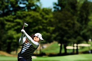 Ariya Jutanugarn hits her tee shot at  No. 10 during the second round of stroke play at the 2012 U. S. Women's Amateur Championship at The Country Club in Cleveland.