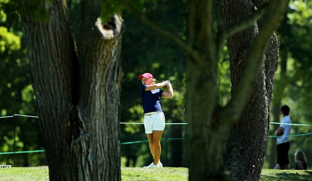 Austin Ernst of Seneca, S.C. tees off at No. 10 during the second round of stroke play at the 2012 U. S. Women's Amateur Championship.