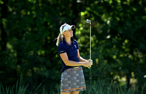 Amy Anderson of of Oxbow, N. D. during the second round of stroke play at the 2012 U. S. Women's Amateur Championship at The Country Club in Cleveland.