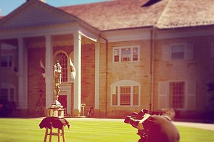 Golf Channel films the Cox Trophy during the second round of stroke play at the 2012 U. S. Women's Amateur Championship at The Country Club in Cleveland.